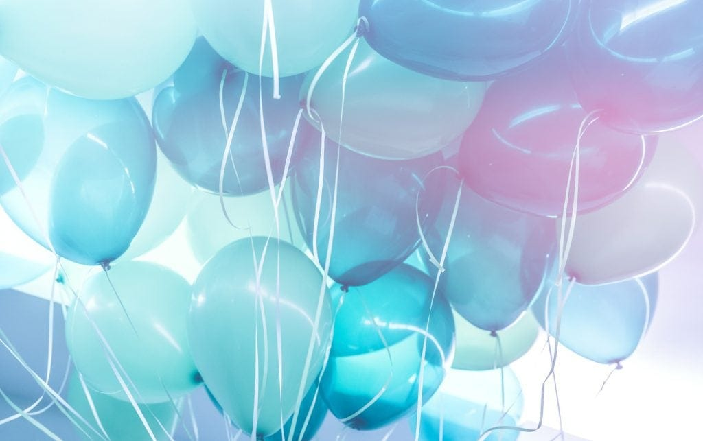 Party background, abstract festive background of a bunch of blue air balloons, happy birthday holiday decoration